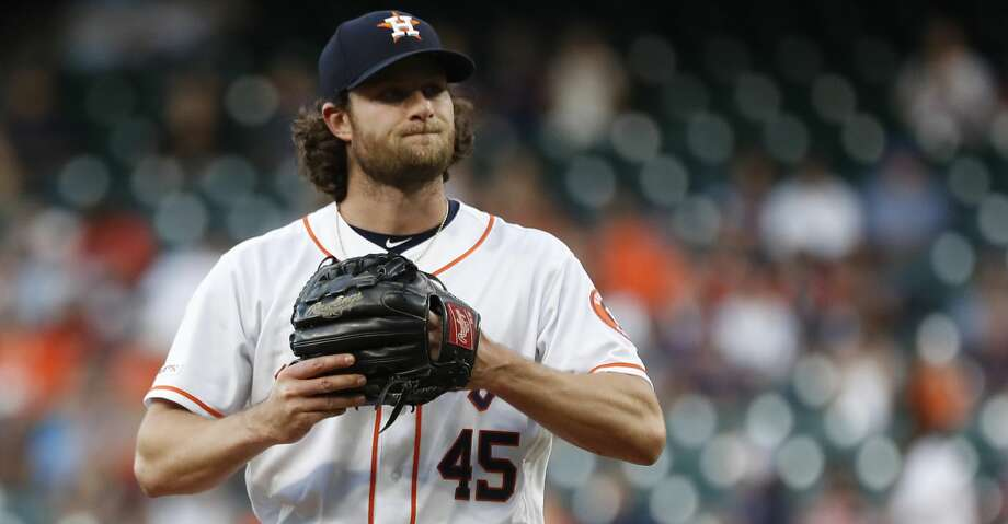 Houston Astros starting pitcher Gerrit Cole (45) reacts during the first inning of an MLB baseball game at Minute Maid Park, in Houston, Thursday, April 25, 2019. Photo: Karen Warren/Staff Photographer