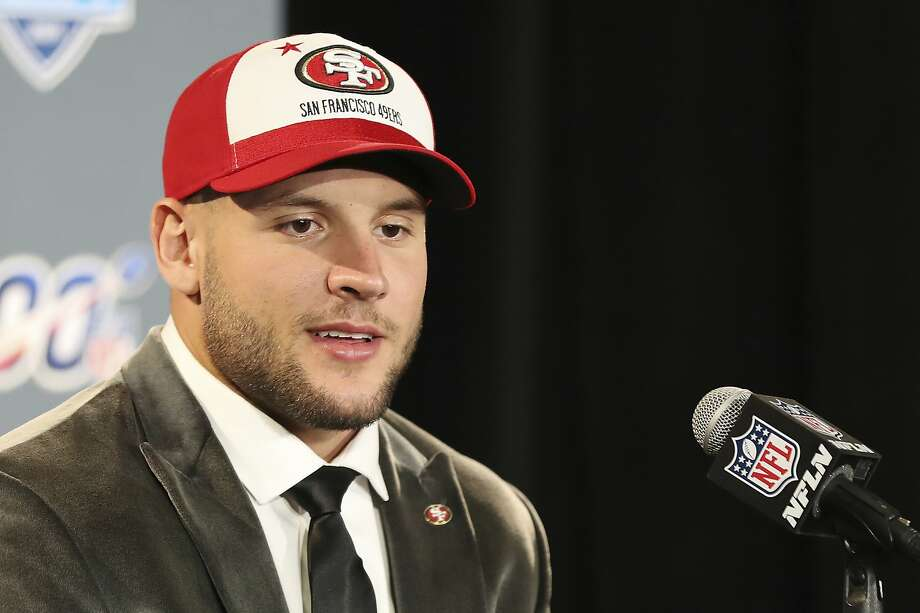 Ohio State defensive end Nick Bosa speaks at a press conference after the San Francisco 49ers selected Bosa in the first round at the NFL football draft, Thursday, April 25, 2019, in Nashville, Tenn. Photo: Steve Luciano, Associated Press