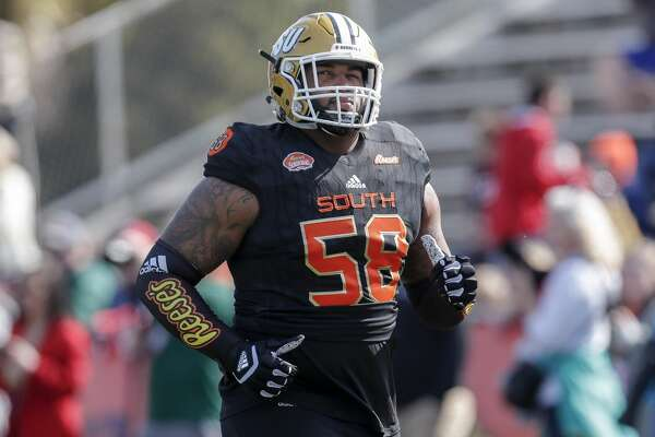 MOBILE, AL - JANUARY 26: Tackle Tytus Howard #58 of Alabama State of the South Team during the 2019 Resse's Senior Bowl at Ladd-Peebles Stadium on January 26, 2019 in Mobile, Alabama. The North defeated the South 34 to 24. (Photo by Don Juan Moore/Getty Images)