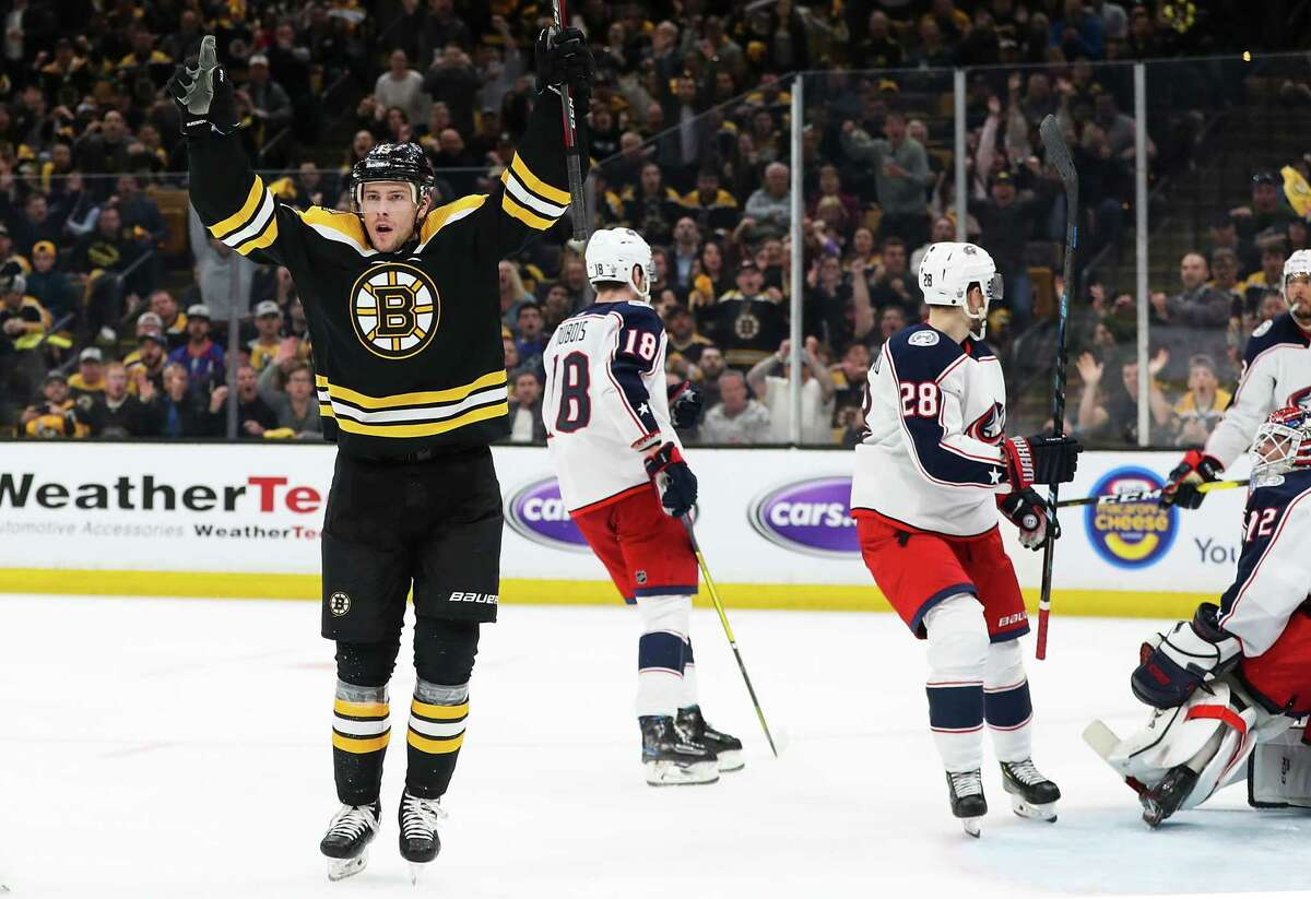 BOSTON, MA - APRIL 25: Charlie Coyle #13 of the Boston Bruins reacts after scoring a goal in the third period against the Columbus Blue Jackets in Game One of the Eastern Conference Second Round during the 2019 NHL Stanley Cup Playoffs at TD Garden on April 25, 2019 in Boston, Massachusetts. (Photo by Adam Glanzman/Getty Images)