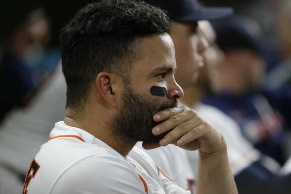 Houston Astros second baseman Jose Altuve (27) in the dugout during the fourth inning of an MLB baseball game at Minute Maid Park, in Houston, Thursday, April 25, 2019.