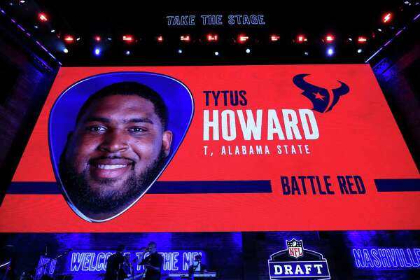 NASHVILLE, TENNESSEE - APRIL 25: A video board displays an image of Tytus Howard of Alabama State after he was chosen #23 overall by the Houston Texans during the first round of the 2019 NFL Draft on April 25, 2019 in Nashville, Tennessee. (Photo by Andy Lyons/Getty Images)