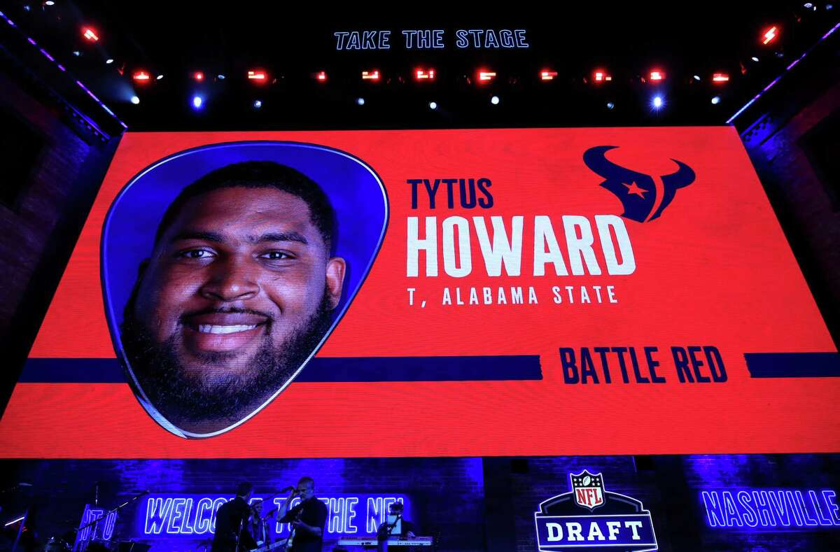 PHOTOS: Everything you need to know about Texans' first-round pick Tytus Howard A video board displays an image of Tytus Howard of Alabama State after he was chosen No. 23 overall by the Houston Texans during the first round of the 2019 NFL Draft on April 25, 2019 in Nashville, Tennessee. (Photo by Andy Lyons/Getty Images) Browse through the photos above to learn more about Texans' first-round pick Tytus Howard ...