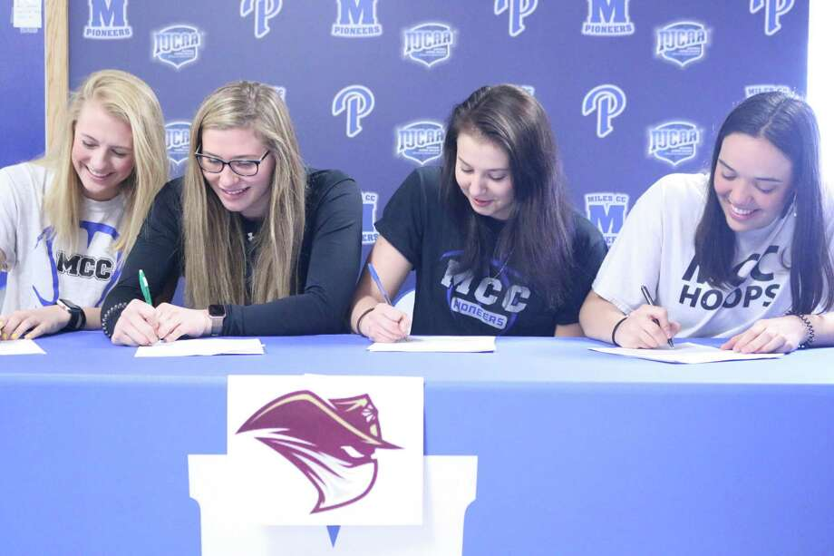 TAMIU women's basketball head coach Nate Vogel announced the signing of six players Thursday including four teammates. From left in the top photo are former Miles Community College teammates Josselin Geer, Dakota Dosch, Patrycja Jaworska and Lucia Salazar. Photo: Courtesy Of TAMIU Athletics