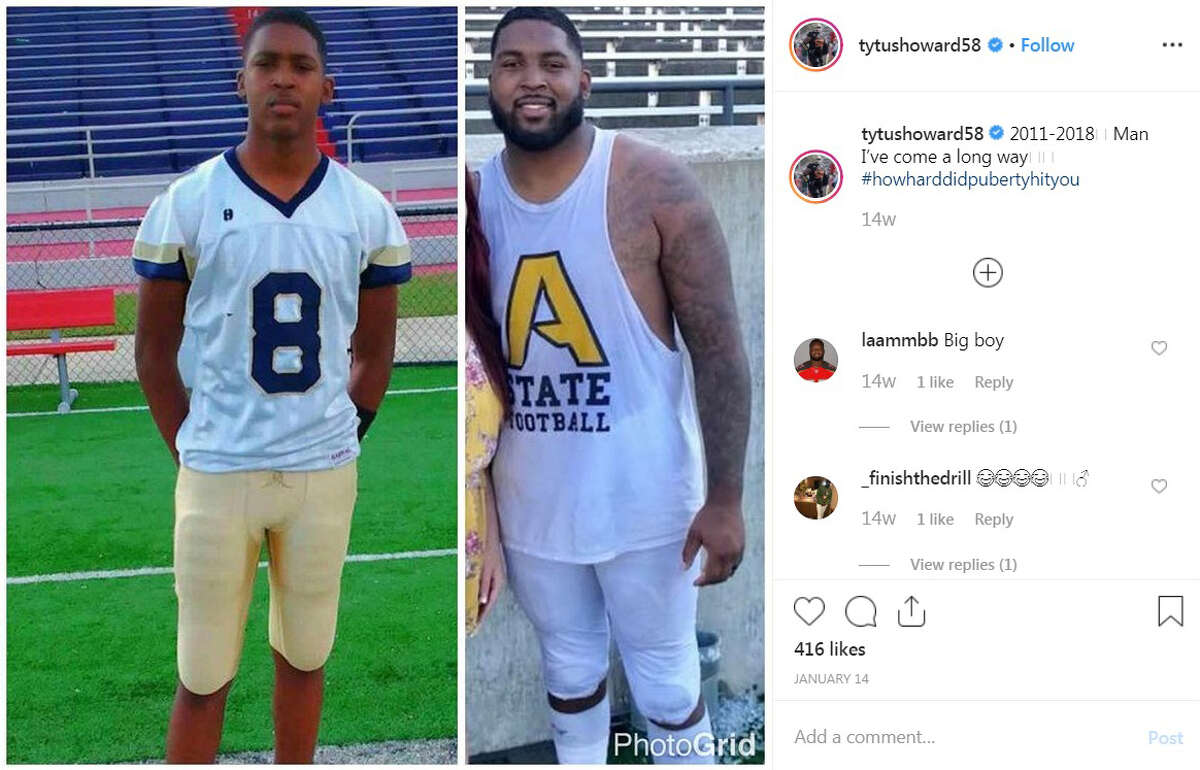 Transformed his body Howard was a 6-foot-3, 215-pound quarterback at Monroe County (Ala.) High School as a senior. He measured at 6-5 and 322 pounds at the Senior Bowl in January.