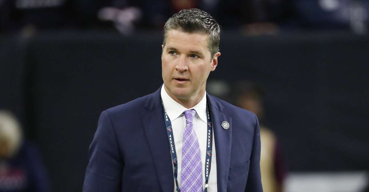 Houston Texans general manager Brian Gaine walks onto the field before an NFL football game against the Jacksonville Jaguars at NRG Stadium on Sunday, Dec. 30, 2018, in Houston.