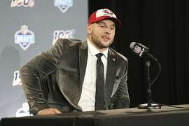 Ohio State defensive end Nick Bosa speaks at a press conference after the San Francisco 49ers selected Bosa in the first round at the NFL football draft, Thursday, April 25, 2019, in Nashville, Tenn. (AP Photo/Steve Luciano)