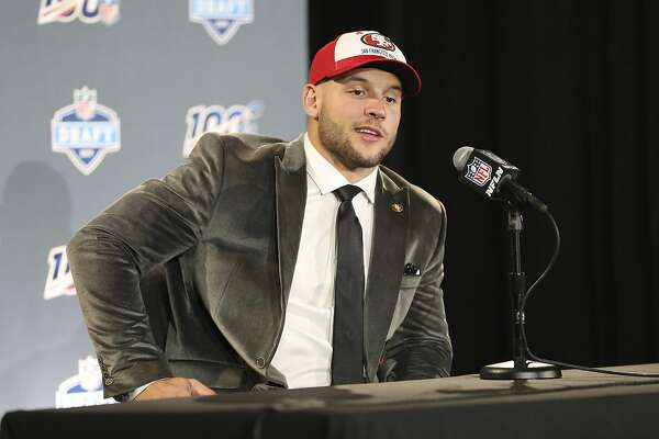 8e336f4b1 1of5Ohio State defensive end Nick Bosa speaks at a press conference after the  San Francisco 49ers selected Bosa in the first round at the NFL football  draft ...
