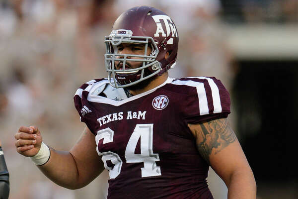 COLLEGE STATION, TX - SEPTEMBER 09: Texas A&M Aggies offensive lineman Erik McCoy (64) gets ready for a play during the college football game between the Nicholls Colonels and the Texas A&M Aggies on September 9th, 2017 at Kyle Field in College Station, TX. (Photo by Daniel Dunn/Icon Sportswire via Getty Images)