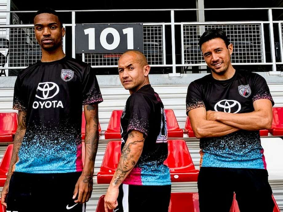 San Antonio FC players will wear practice tops during the pregame that pays homage to the Spurs' iconic, tri-color retro uniform vs. Tacoma on Friday at Toyota Field. Photo: Courtesy Photo