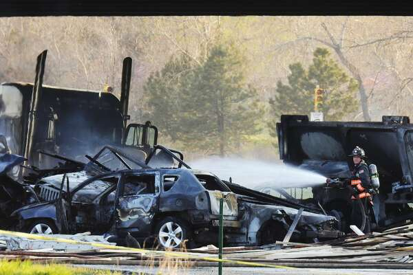 Lakewood, CO - APRIL 25: One person dead in fiery crash on I-70 near Colorado Mills Parkway that shut down highway in both directions. April 25, 2019. (Photo by Hyoung Chang/MediaNews Group/The Denver Post via Getty Images)
