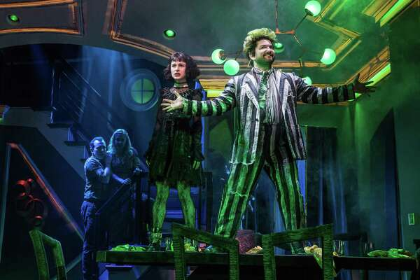 "Rob McClure, left, Kerry Butler, Sophia Anne Caruso and Alex Brightman in ""Beetlejuice,"" now on Broadway."