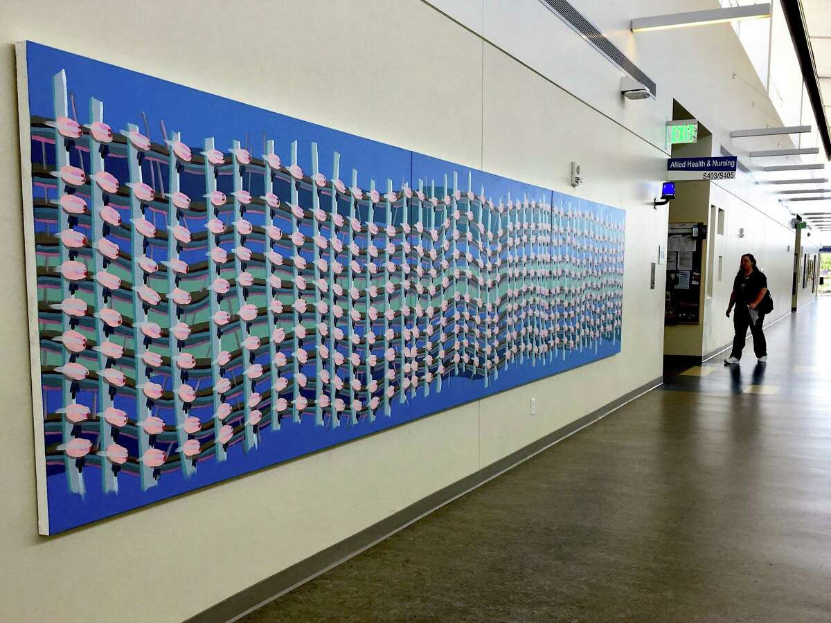 A painting by Cat Balco, a Hamden artist, installed at Gateway community college in New Haven.