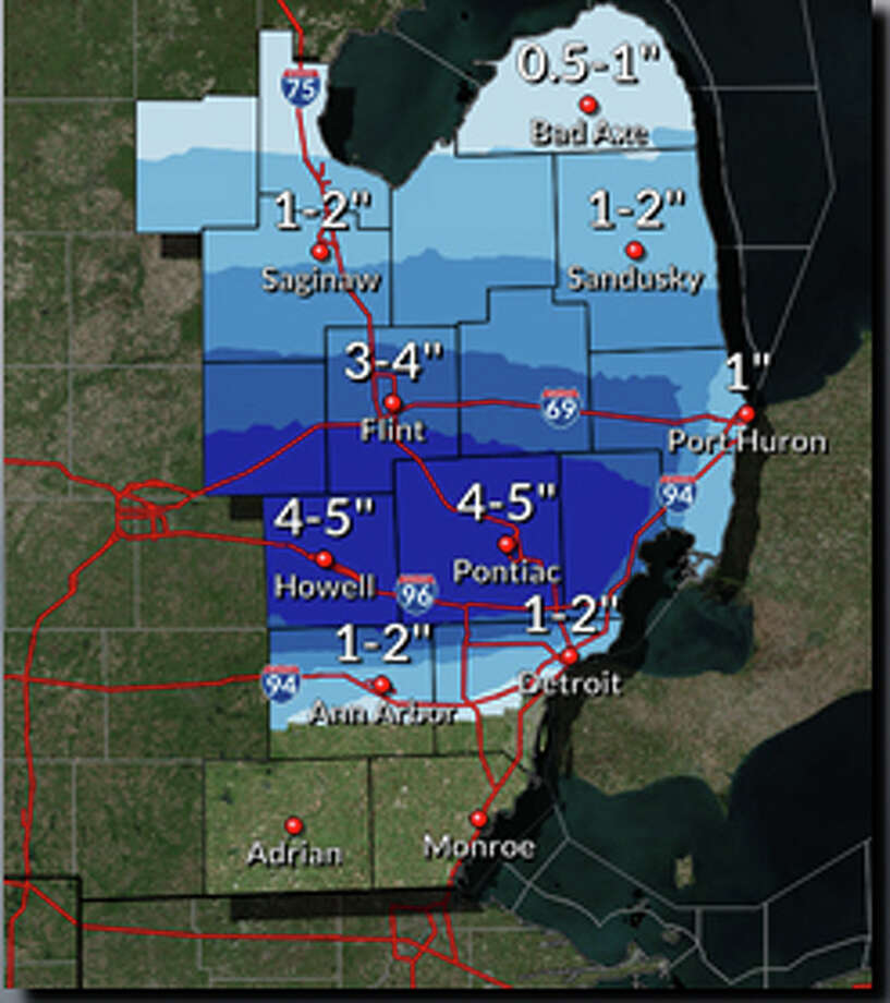 """Rain will move into the area Saturday evening before colder air overnight allows a changeover to snow. Some locations could see 4-5"""" of snow by Sunday morning although most of the accumulation should occur on grassy and elevated surfaces. Photo: National Weather Service Detroit"""