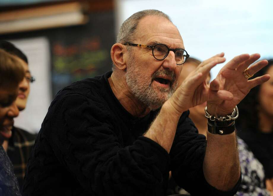 Architect Thom Mayne provides comments to sixth grade students on their architecture projects at Hall School in Bridgeport, Conn. on Tuesday, December 5, 2017. Mayne is the Turnaround Arts mentor at the school. Photo: Brian A. Pounds / Hearst Connecticut Media / Connecticut Post