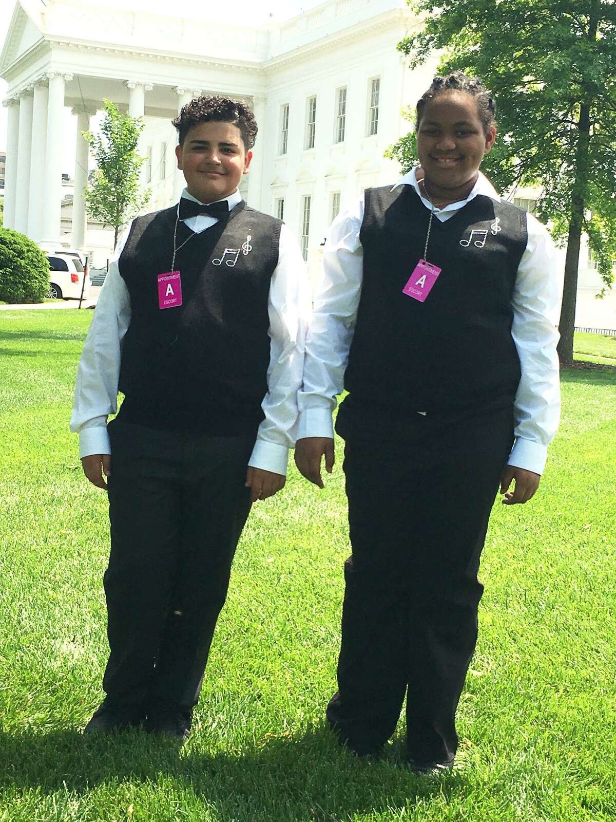 Jorge Collazo and Ashinea Brown, students from Tisdale School in Bridgeport, during a visit to the White House in Washington D.C. May 25, 2016. A group of sixth-graders from Tisdale School were part of the Turnaround Arts talent show.