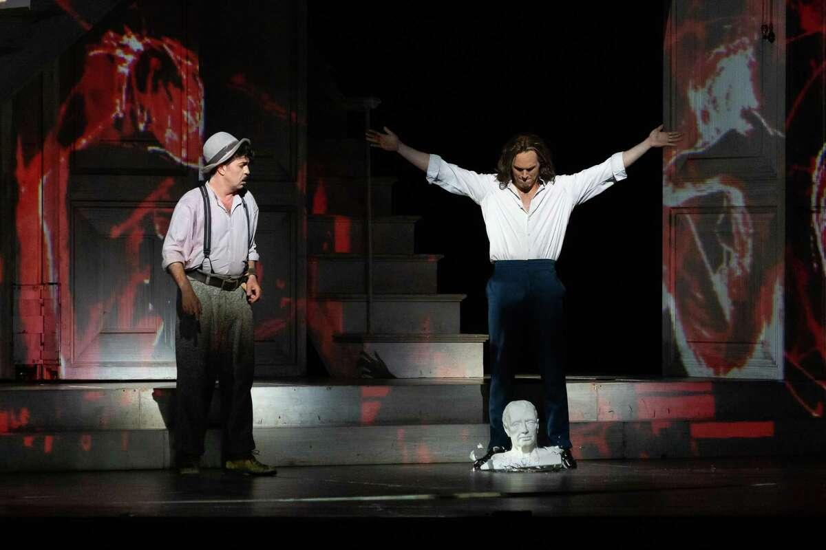 Paolo Bordogna as Leporello and Ryan McKinny as Don Giovanni in the Houston Grand Opera production of 'Don Giovanni'