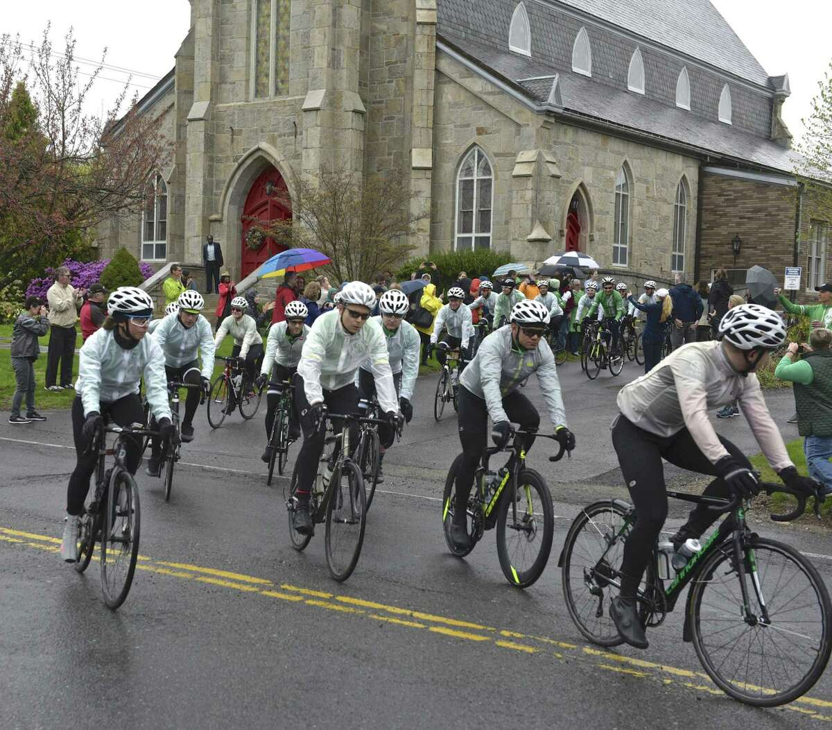 Team 26 riders leave Trinity Episcopal Church on their annual ride of peace, hope and love. Friday, April 26, 2019, in Newtown, Conn.