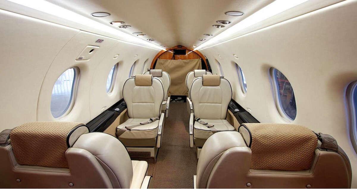 The interior of a Boutique Air Pilatus PC-12 turboprop