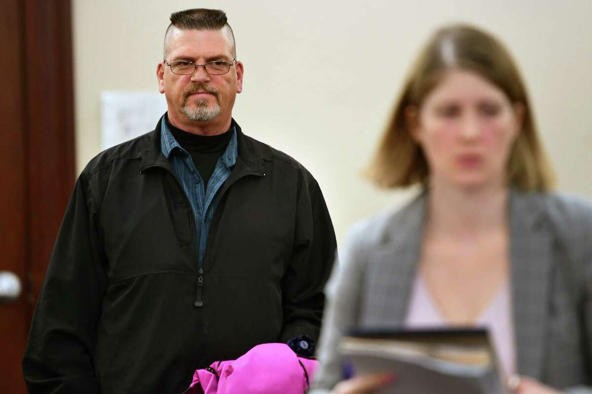 Michael Snyder Sr., a 19-year veteran guard at the Albany County jail, waits for his attorney Danielle Smith after his arraignment in front of Judge Will Carter at Albany County Court on an indictment that accuses him of raping a prisoner at the jail on Friday, April 26, 2019 in Albany, N.Y. (Lori Van Buren/Times Union)