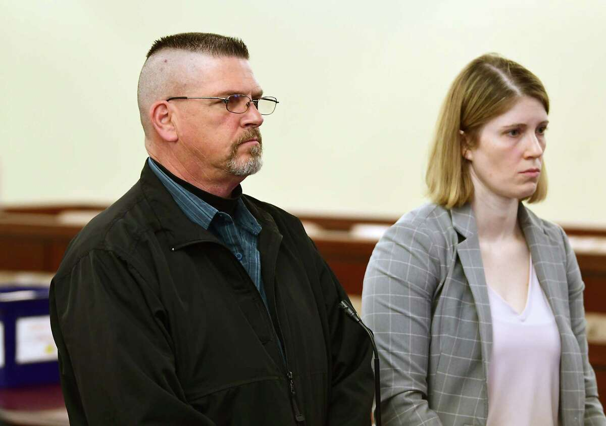 Michael Snyder Sr., a 19-year veteran guard at the Albany County jail, stands with his attorney Danielle Smith during his arraignment in front of Judge Will Carter at Albany County Court on an indictment that accuses him of raping a prisoner at the jail on Friday, April 26, 2019 in Albany, N.Y. (Lori Van Buren/Times Union)