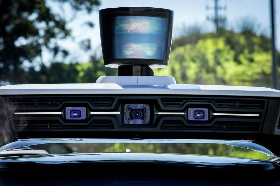 Uber's LiDAR system and front cameras on top of the Volvo XC90 outside the Uber Advanced Technologies Group Headquarters at Pier 70, Tuesday, March 6, 2018, in San Francisco, Calif. Photo: Santiago Mejia, Staff / The Chronicle / ONLINE_YES