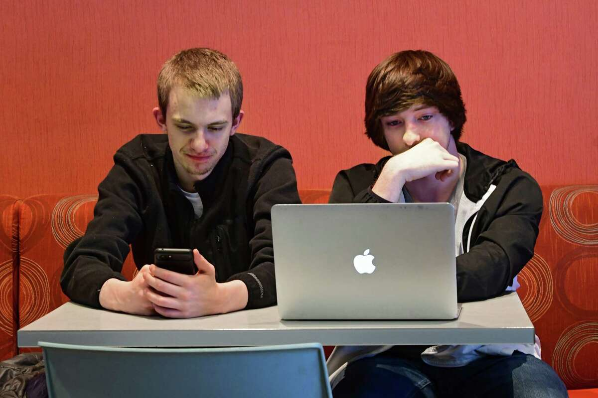 P-Tech students Jacob Dudar, left, and Seth Myers from the Hamilton Fulton Montgomery BOCES program study at Fulton Montgomery Community College on Thursday, April 25, 2019 in Johnstown, N.Y. (Lori Van Buren/Times Union)