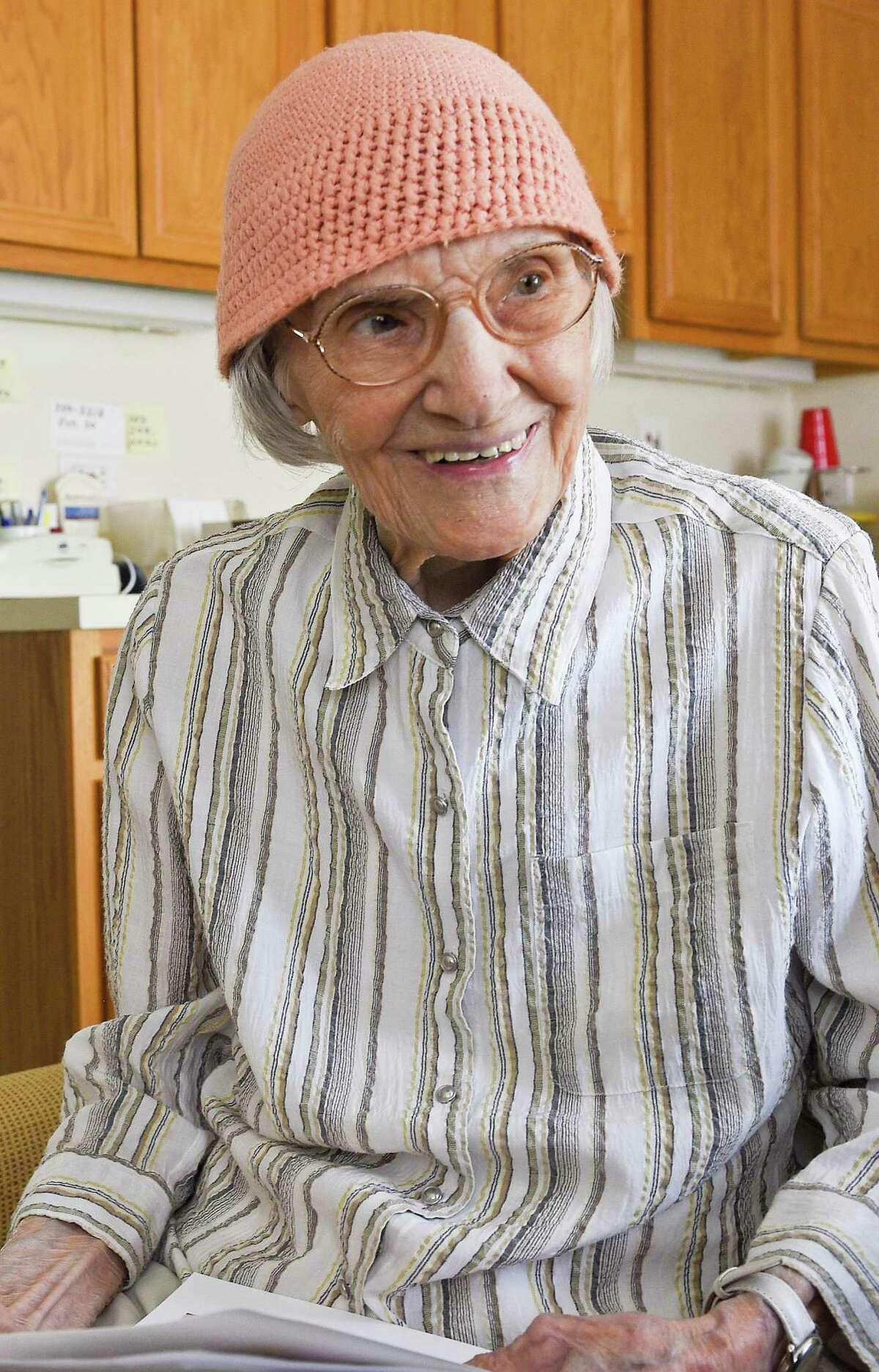 Agnes Ostrowski of Stamford will celebrate her 100th birthday on Friday, April 26, 2019. Stamford Advocate reporter Angela Carella catches up with the free spirited life long resident at her home in Stamford on April 25, 2019.