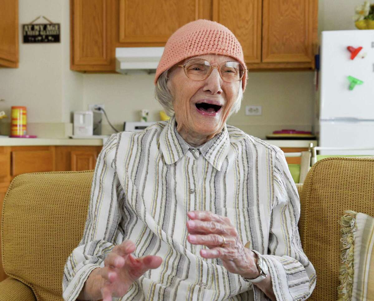 Agnes Ostrowski of Stamford laughs as she reflects on her upcoming 100th birthday, during an interview with Stamford Advocate reporter Angela Carella at her home in Stamford on April 25, 2019.