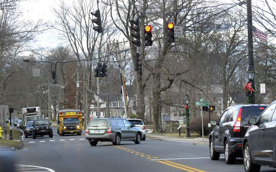 The traffic light on Main and Prospect Streets, right, is quickly followed by a light in at the entrance to the CVS Plaza on Main Street in Ridgefield. Photo Friday, January 27, 2017. Photo: Carol Kaliff / Hearst Connecticut Media / The News-Times
