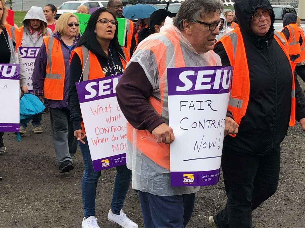 Shelton bus drivers and monitors spent the morning of Friday, April 26, picketing at the bus maintenance garage on Riverdale Avenue.