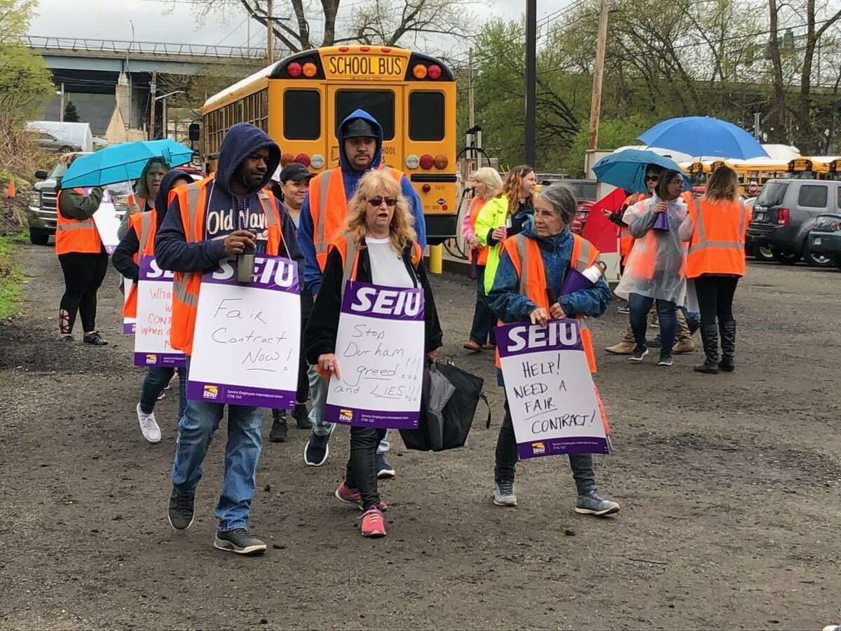 The union representing the Shelton bus drivers and monitors have voted to authorize a strike against Durham School Services. Dozens gathered Friday to hold an informational picket at the bus garage on Riverdale Avenue.