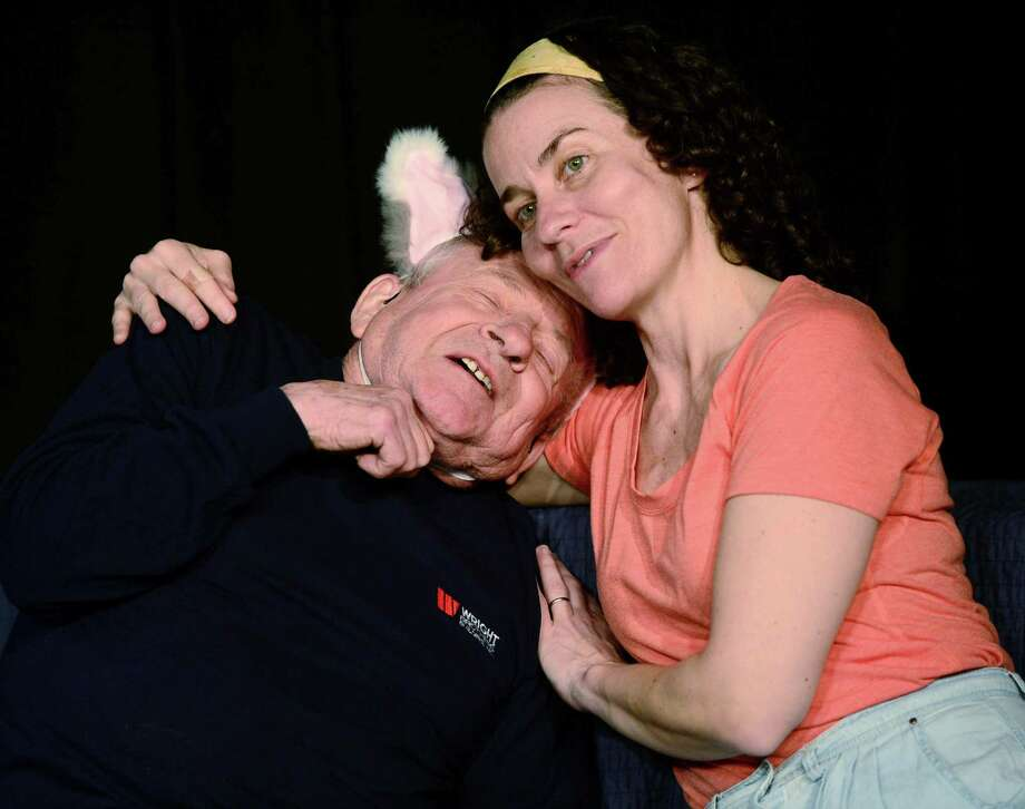 Norwalk's Theater Artists Workshop actors Norman Allen and Mariah Sage rehearse for the play, Delivery, Wednesday, April 24, 2019, in Norwalk, Conn. Norwalk's Theater Artists Workshop will host its annual Spring Festival with three days of original plays this weekend, written by local playwrights and actors. Photo: Erik Trautmann / Hearst Connecticut Media / Norwalk Hour