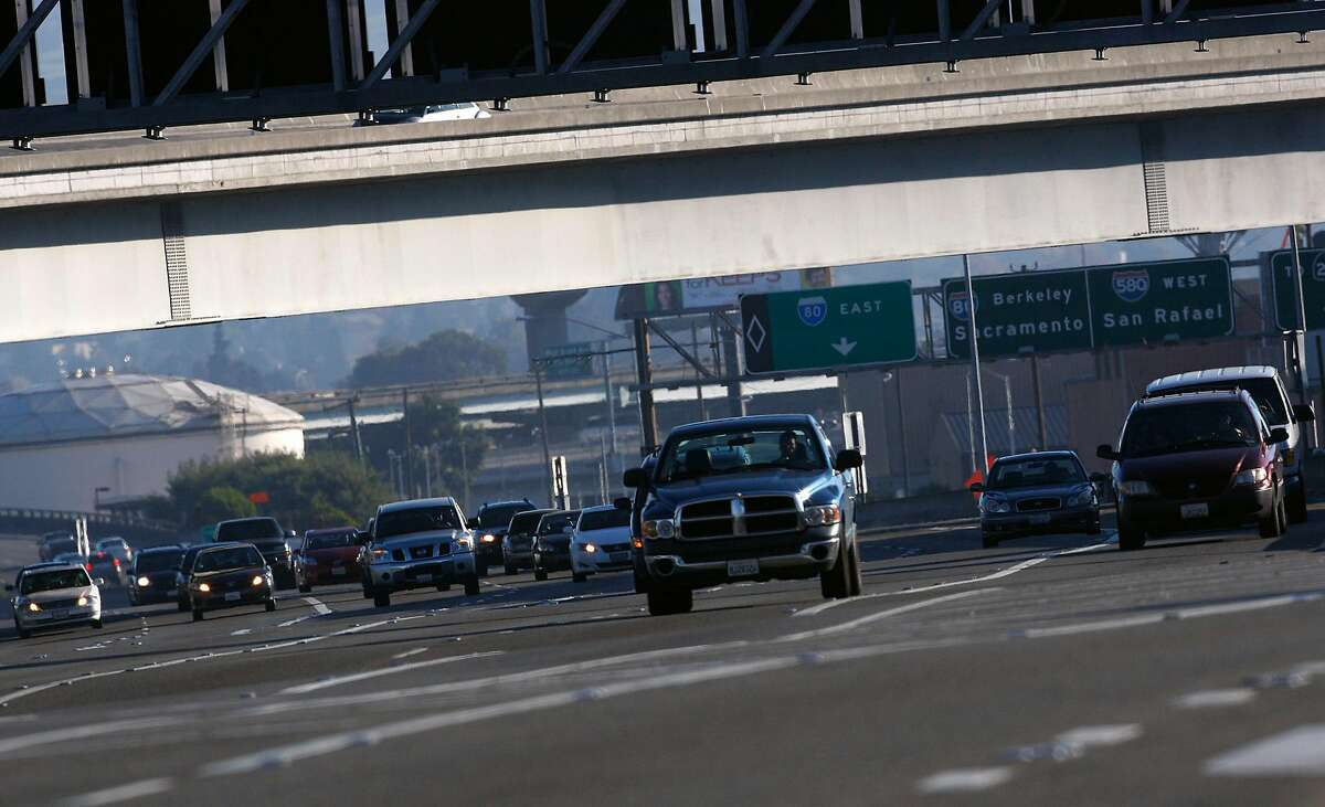 Traffic heading westbound before the toll booth on the MacArthur Maze in Oakland, Calif., on Friday, November 23, 2012.