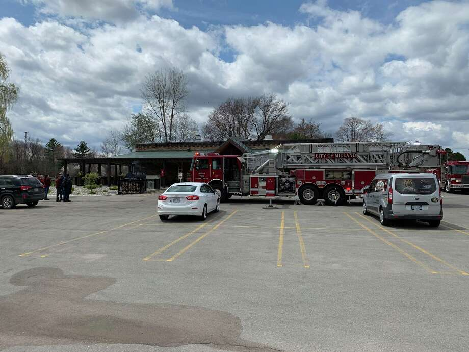 Fire teams from the Midland Fire Department respond to a possible electrical fire at Midland Brewing Company on April 25, 2019. Photo: Mitchell Kukulka