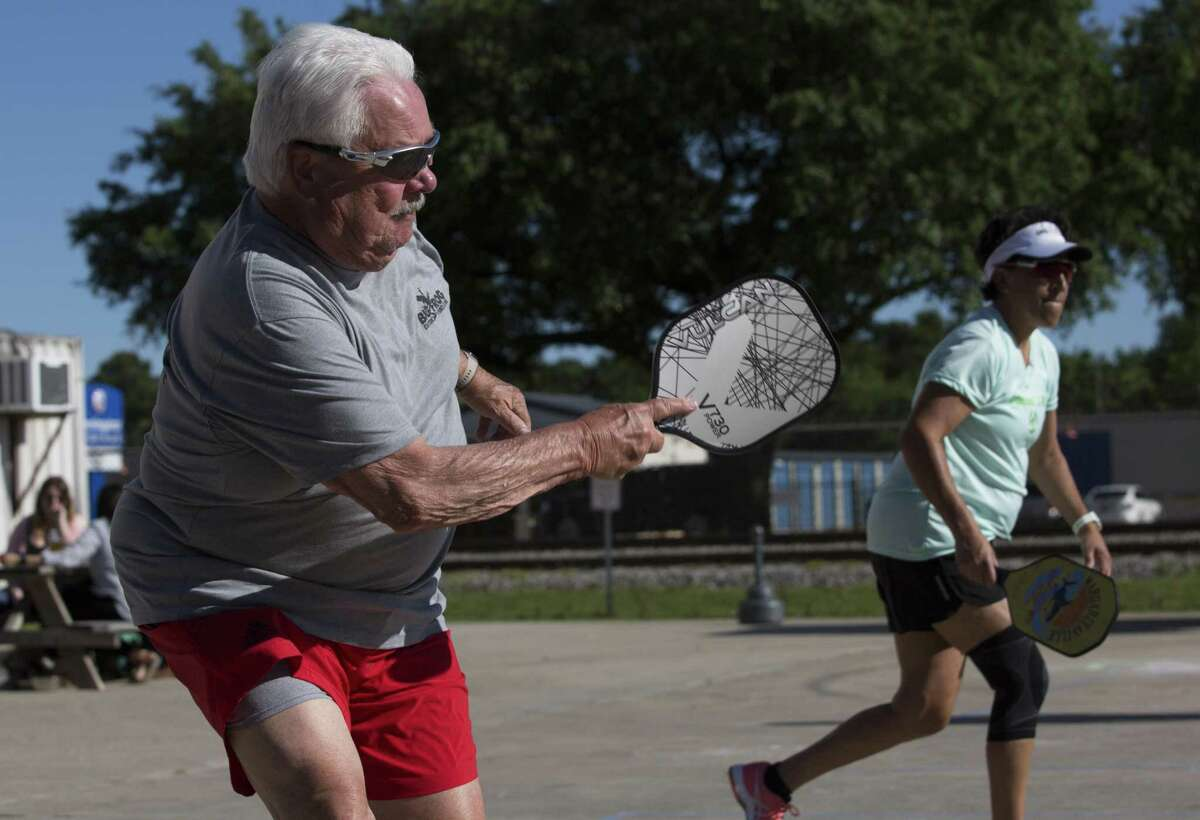Pickle & Pints members Wendi and Tom Myers and play a tournament match at No Label Brewing on Saturday, April 20, 2019, in Katy. Pickleball is one of the fastest growing sports in America and Pickle & Pints hosts pickleball tournaments at local breweries.