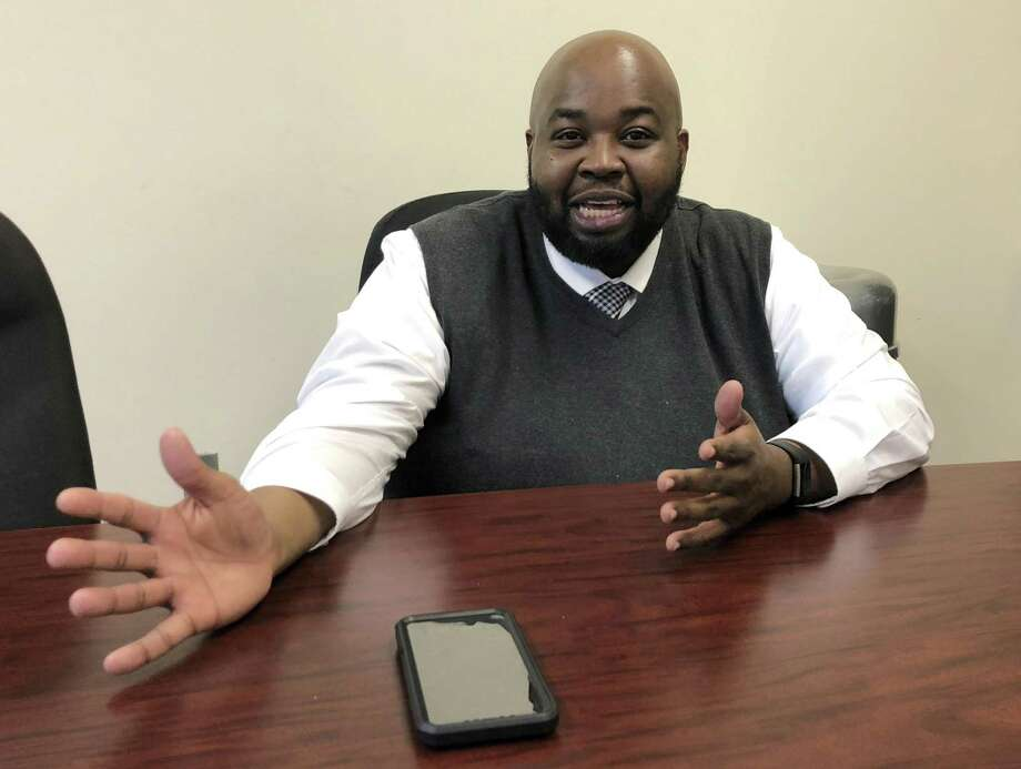 Rodney Robinson, of Richmond, Va., gestures during an interview at the Virgie Binford Educational Center, a school inside the Richmond Juvenile Detention Center in Richmond, Va. On Wednesday, Robinson was named the 2019 National Teacher of the Year. He will spend the next year traveling around the country as an ambassador for education and an advocate for teachers and students. Photo: Denise Levoie / Associated Press / Copyright 2019 The Associated Press. All rights reserved