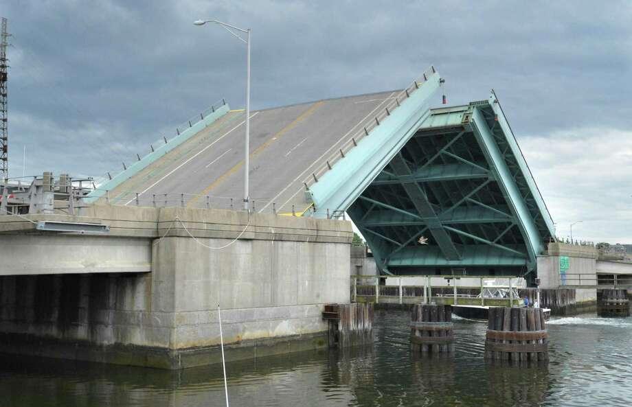 The Stroffolino Bridge over the Norwalk river opens for boat traffic on Wednesday June 6, 2018 in Norwalk Conn Photo: Alex Von Kleydorff / Hearst Connecticut Media / Norwalk Hour