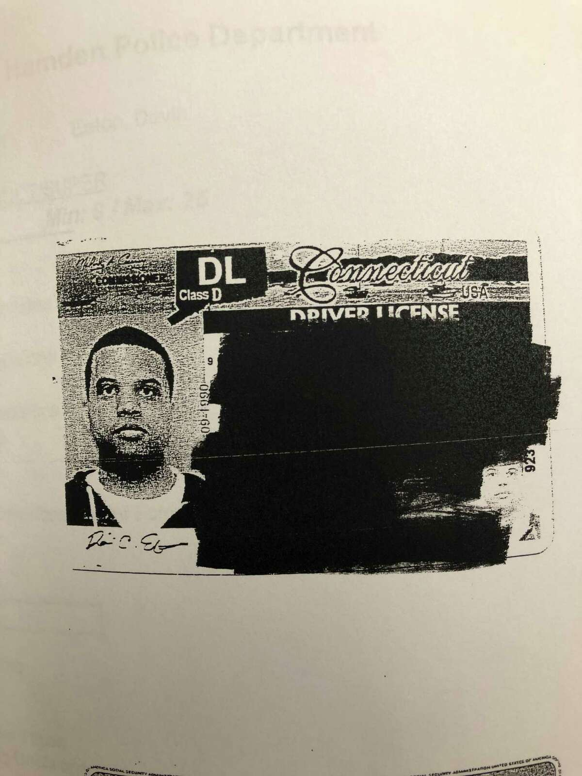An image of Officer Devin Eaton contained in his Hamden personnel file.