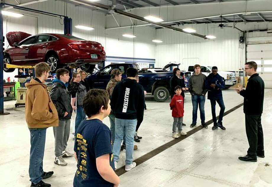 A group of high school students from the Huron Area Technical Center, and some students from Laker Elementary, took a tour of McCormick Motors recently. Alec McCormick, sales consultant, led the tour and talked about each department. He also talked about various job opportunities at car dealerships. McCormick also answered questions. (Submitted Photo)