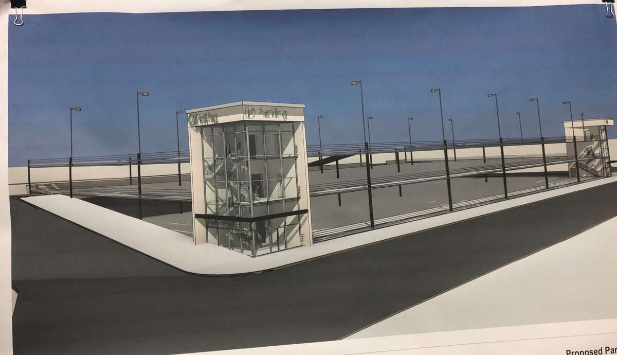 A rendering of the proposed three-story, 600 parking spot, steel garage at 466 River St., was presented to the Troy Planning Commission April 25, 2019.