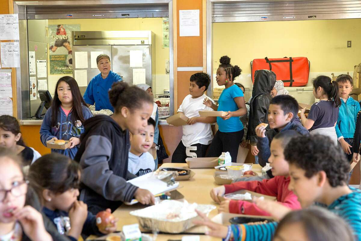 Students are having lunch at the Tenderloin Community School on Thursday, April 25, 2019. San Francisco, Calif.