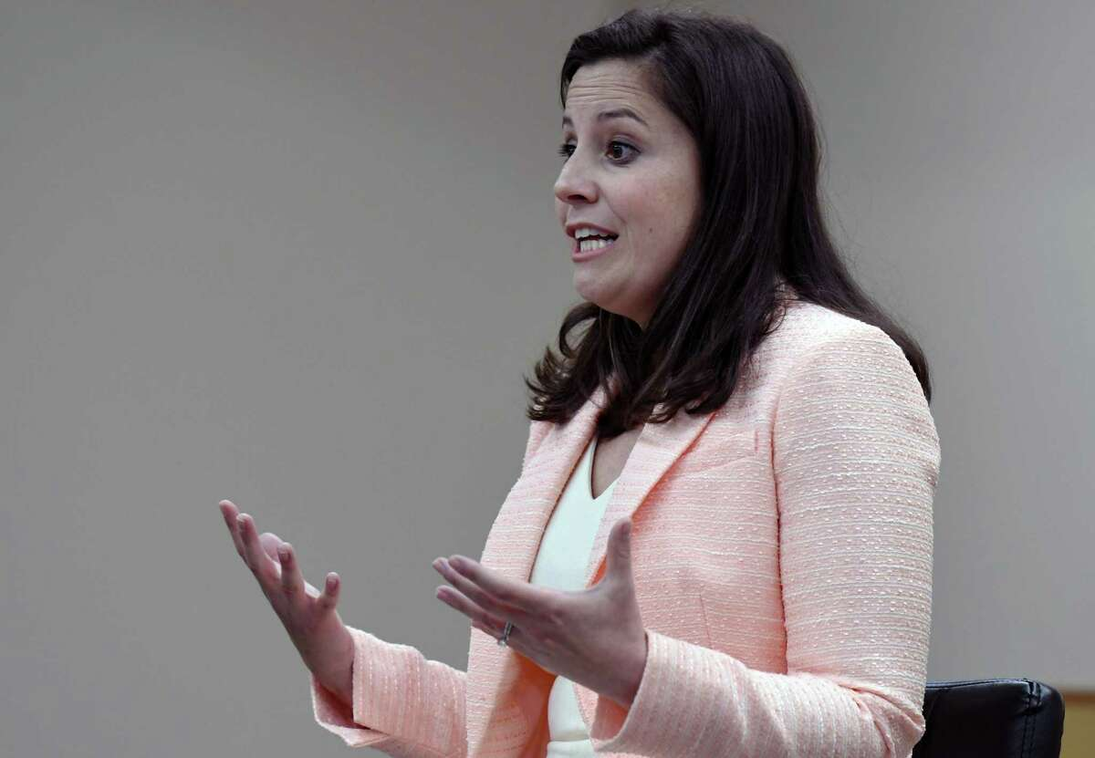 Congresswoman Elise Stefanik addresses audience questions during a meeting with constituents on Friday, April 26, 2019 at Saratoga Town Hall in Schuylerville, NY. (Phoebe Sheehan/Times Union)