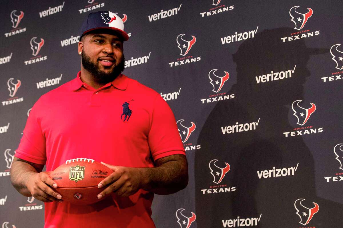 PHOTOS: What to know about Texans top draft pick Tytus Howard Houston Texans top draft pick Tytus Howard poses for photos with a football following an introductory news conference at NRG Stadium on Friday, April 26, 2019, in Houston. Howard, an offensive lineman from Alabama State was the 23rd overall selection in the 2019 NFL Draft. >>>Learn more about the Texans' top draft pick ...