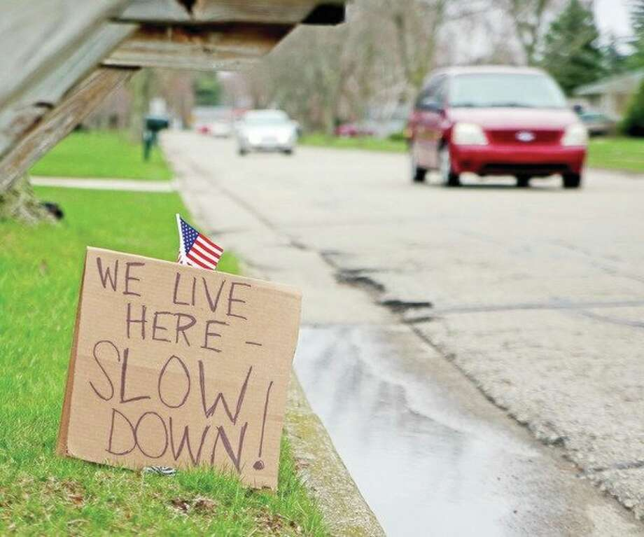 A Bad Axe resident on East Butler Street posted this sign to motorists that travel along the detour route. (Paul P. Adams/Huron Daily Tribune)
