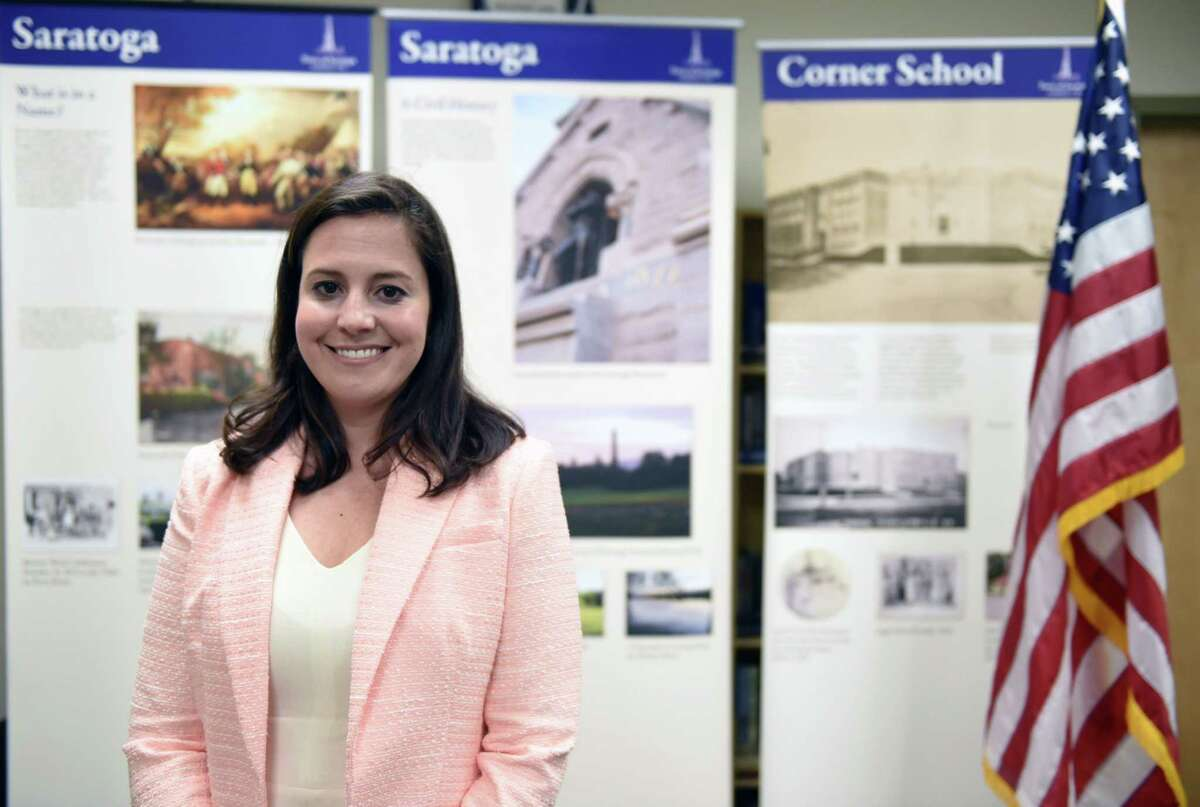 Congresswoman Elise Stefanik stands for a portrait on Friday, April 26, 2019 at Saratoga Town Hall in Schuylerville, NY. (Phoebe Sheehan/Times Union)