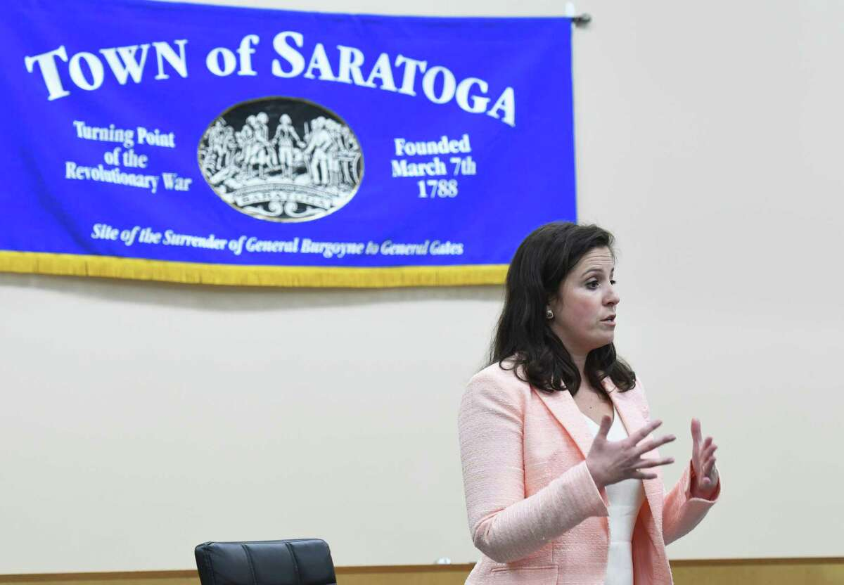 Congresswoman Elise Stefanik responds to audience questions during a meeting with constituents on Friday, April 26, 2019 at Saratoga Town Hall in Schuylerville, NY. (Phoebe Sheehan/Times Union)