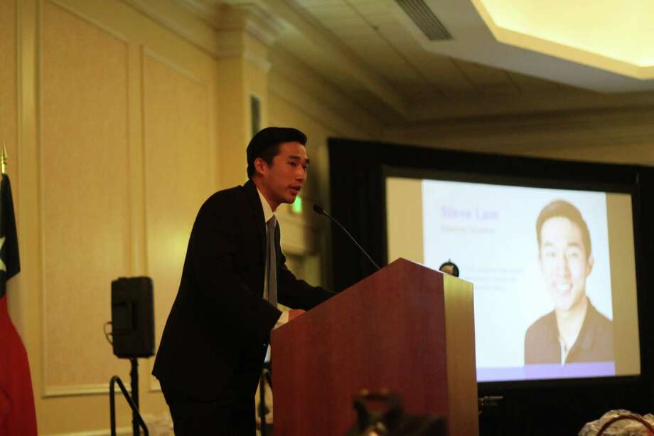 Steve Lam, a 2013 graduate of Westfield High School, said Spring ISD's career and technical education program helped him figure out he wanted to pursue a career in marketing during the district's annual luncheon honoring scholarship recipients on Friday, April 26, 2019. Photo: Mayra Cruz