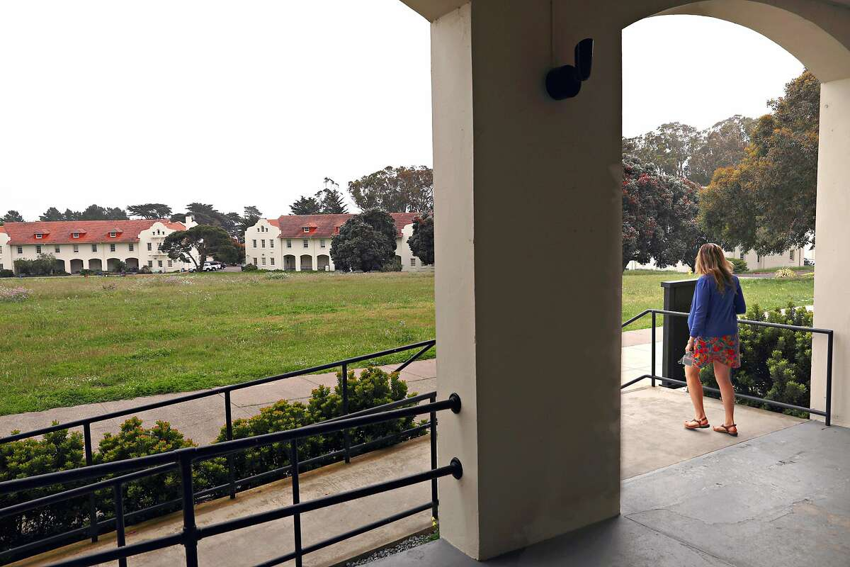 Historic barracks seen at Fort Winfield Scott from the presidio graduate school in the presidio on Thursday, April 25, 2019, in San Francisco, Calif.