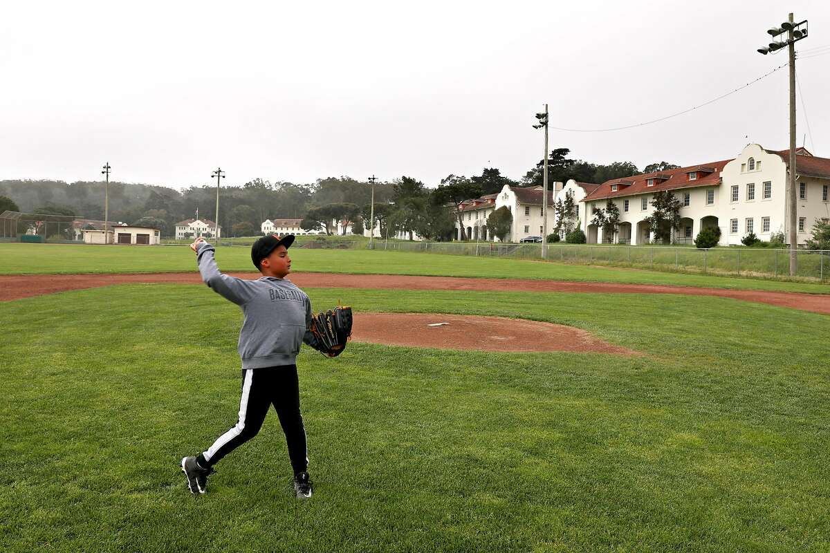 Johnny Nepomuceno, 11 years old, has been playing baseball at Fort Winfield Scott field in The Presidio since he was 5 years old seen practicing on Thursday, April 25, 2019, in San Francisco, Calif.